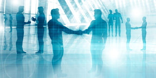 Silhouettes of Two Businessman Shaking Hands Royalty Free Stock Photos