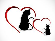 Cats in love. Silhouettes of two cats in love  - vector illustration Royalty Free Stock Image