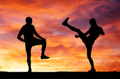 Silhouettes of two fighters Stock Photography