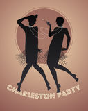 Silhouettes of two flapper girls dancing charleston. Vector illustration Stock Photo