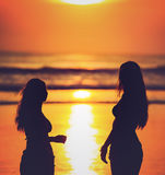 Silhouettes of two girls against red sunset on the Stock Image