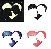 The silhouettes of two lovers Stock Images