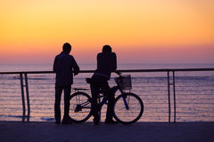 Silhouettes of two men with a bicycle Stock Images