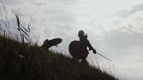 Silhouettes of two warriors Viking are fighting with swords and shields. Silhouettes of two fighting Vikings. Two Vikings are fighting in the meadow. Medieval stock footage