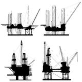 Silhouettes of units for oil industry Stock Photos