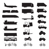 Silhouettes of various vehicles. Stock Image