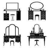 Silhouettes of vector dressing table. Collection of silhouettes of a dressing table. Template for stencils. A table for cosmetics. Vector illustration Stock Photos
