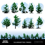 Silhouettes vector trees Stock Image