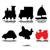 Silhouettes of vehicles. Silhouettes of six commonly used vehicles  eps8 graphic Stock Photo