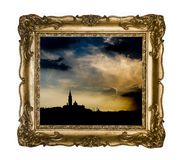 Silhouettes of Venice in a vintage frame. stock photos