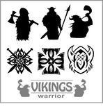 Silhouettes of the Vikings, vector set Royalty Free Stock Photography