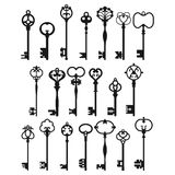 Silhouettes of Vintage Keys. Royalty Free Stock Photos