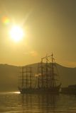 Silhouettes of vintage sailing ships Stock Photo