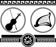 Silhouettes of violin and ancient harp Stock Image
