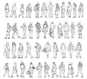 Silhouettes of walking people, caring bags, talking on the phone etc. Silhouettes of walking people, caring bags, talking on the phone royalty free illustration