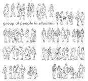 Silhouettes of walking people, caring bags, talking on the phone etc. Sketch collection Royalty Free Stock Photography