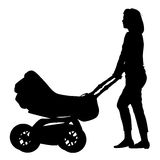 Silhouettes  walkings mothers with baby strollers Royalty Free Stock Image