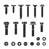 Silhouettes of wall bolts, nuts and screws Stock Image