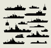 Silhouettes of warships. A set of silhouettes of warships for design and creativity Stock Photography