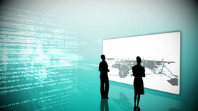 Silhouettes watching global business community clips Royalty Free Stock Photography