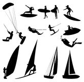 Silhouettes of water sports. Isolated on white Stock Images