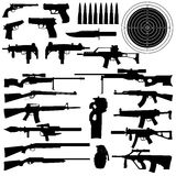 Silhouettes of weapons, guns royalty free illustration