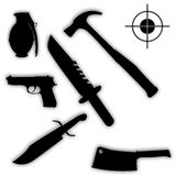 Silhouettes of weapons and tools Royalty Free Stock Photography