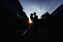 Silhouettes of wedding couple standing on the street Royalty Free Stock Image