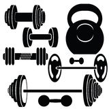 Silhouettes of weights Stock Photos