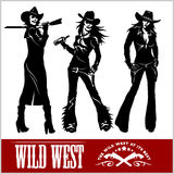 Silhouettes of Western Cowgirls. Vector Illustration Stock Images