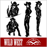 Silhouettes of Western Cowgirls. Vector Illustration Stock Image
