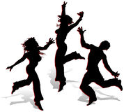 Silhouettes on white background. Silhouettes of dancing young men on white background, illustration Royalty Free Stock Image