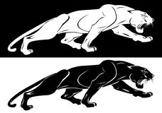 Silhouettes of the white and the black panthers for logo, emblem, tattoo. Snarling aggressive wild animal. Vector illustration Royalty Free Stock Photo