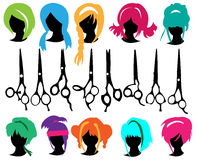 Silhouettes wig set Royalty Free Stock Photography