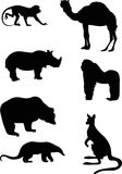 Silhouettes of wild animals Royalty Free Stock Photo