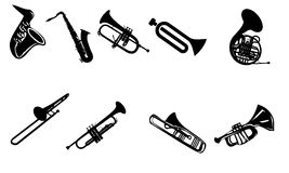 Silhouettes of wind instruments. Set of different  silhouettes wind instruments Royalty Free Stock Images