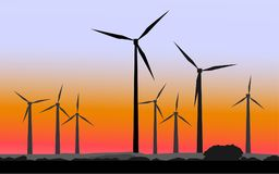 Silhouettes of windmills royalty free illustration