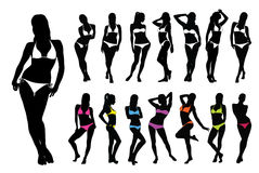 Silhouettes of woman in bikini. Silhouettes of beautiful sexy woman in bikini standing in different pose Stock Photos