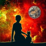 Silhouettes of woman and cat. The woman sitting with cat. Elements of this image furnished by NASA. Deep space filled with stars, nebula and Earth globe. Cutout Royalty Free Stock Photo