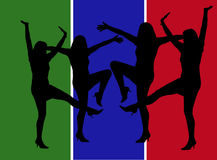 Silhouettes of Woman Dancing. Green and Blue Stripes With Silhouettes of Woman Dancing Stock Photos