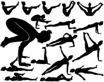 Silhouettes of woman doing yoga exercises for balance. Silhouettes of woman doing yoga exercises for balance, arms, abdominal and for relaxation of all body Stock Illustration