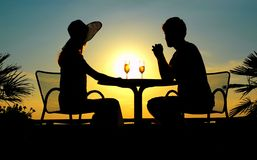 Silhouettes of the woman and the man Royalty Free Stock Images