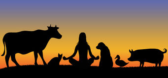 Silhouettes of woman with many animals Royalty Free Stock Photos