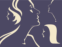 Silhouettes of woman's faces Royalty Free Stock Photos