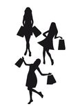 Silhouettes woman shopping Royalty Free Stock Image