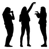 Silhouettes woman taking selfie with smartphone on white background. Vector illustration Royalty Free Stock Photos
