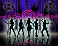 Silhouettes of women. Silhouettes of pretty women dancing over abstract background royalty free illustration