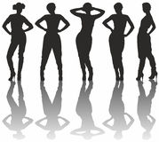 Silhouettes of women. Five black silhouettes of women with shadows Royalty Free Stock Photos