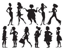 Silhouettes of women. Eleven different silhouettes of women Stock Illustration