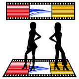Silhouettes of women. With film strip background - additional ai and eps format available on request Stock Photos
